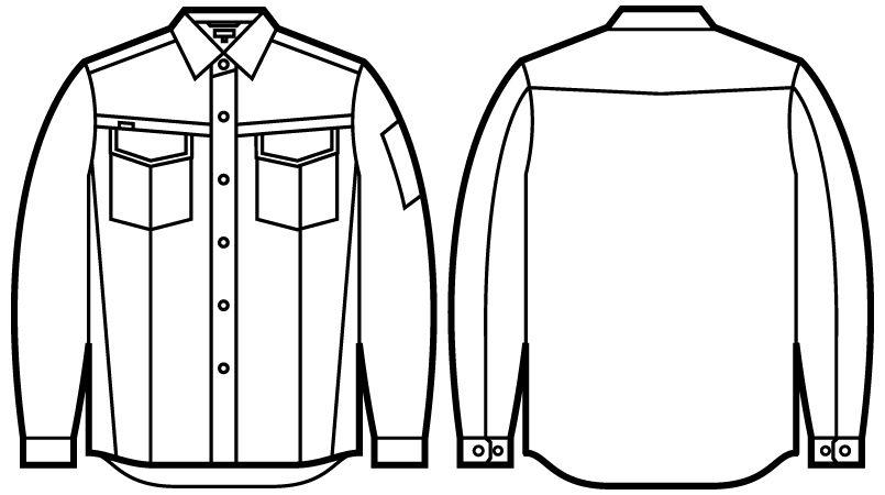 自重堂 56204 JAWIN 長袖シャツ(新庄モデル) ハンガーイラスト・線画