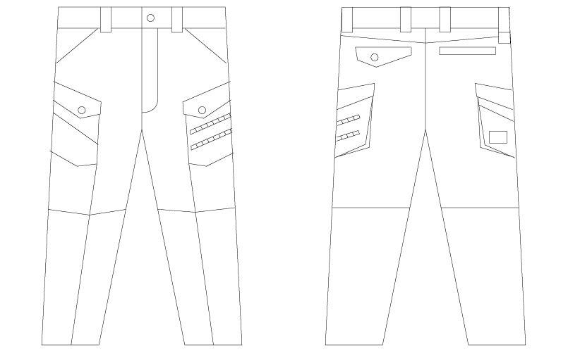 自重堂Jawin 56302 [春夏用]ノータックカーゴパンツ(新庄モデル) 裾上げNG ハンガーイラスト・線画