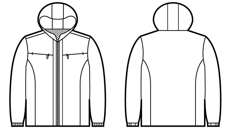 自重堂Jawin 58133 [秋冬用]防寒ショートコート(フード付) ハンガーイラスト・線画