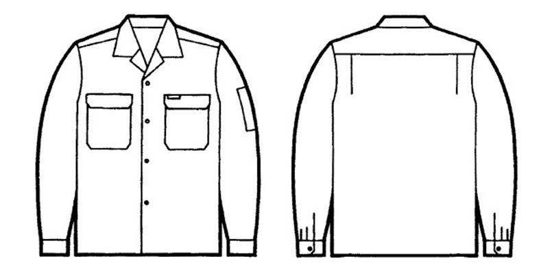 自重堂 6055 [春夏用]エコ製品制電長袖オープンシャツ(JIS T8118適合) ハンガーイラスト・線画