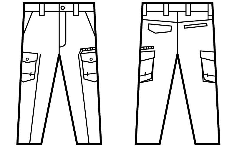 自重堂 71202 [秋冬用]Z-DRAGON 綿100%ノータックカーゴパンツ ハンガーイラスト・線画
