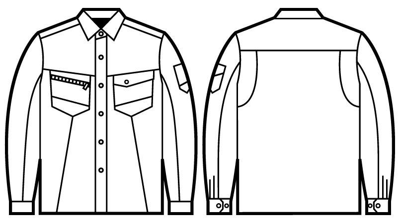 自重堂 71204 Z-DRAGON 綿100%長袖シャツ ハンガーイラスト・線画