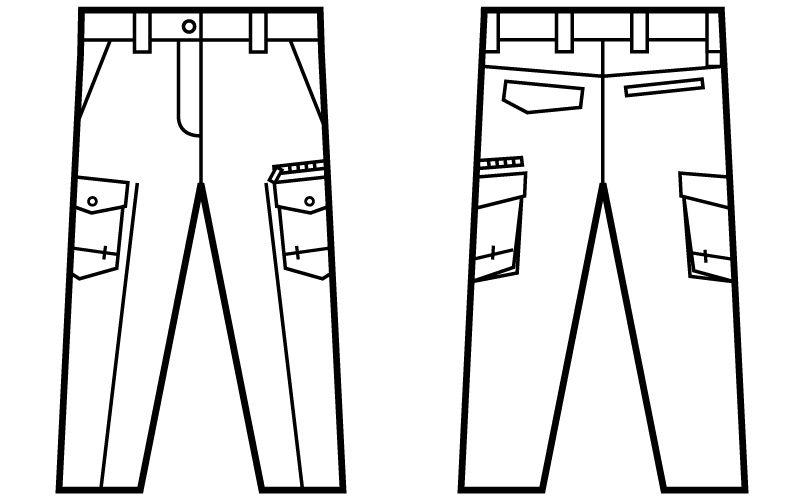 自重堂 71216 Z-DRAGON 綿100%レディースカーゴパンツ(女性用) ハンガーイラスト・線画