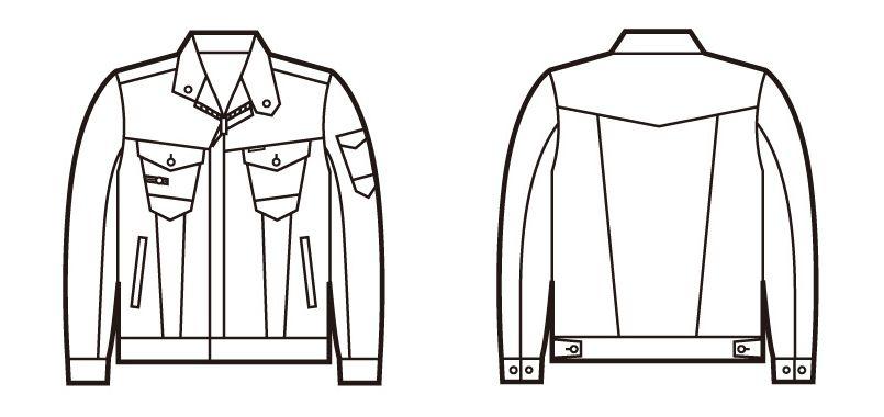 自重堂 71600 Z-DRAGON ストレッチデニムジャンパー ハンガーイラスト・線画