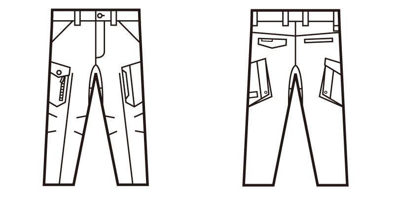 自重堂 71702 Z-DRAGON ストレッチノータックカーゴパンツ フルハーネス対応 ハンガーイラスト・線画