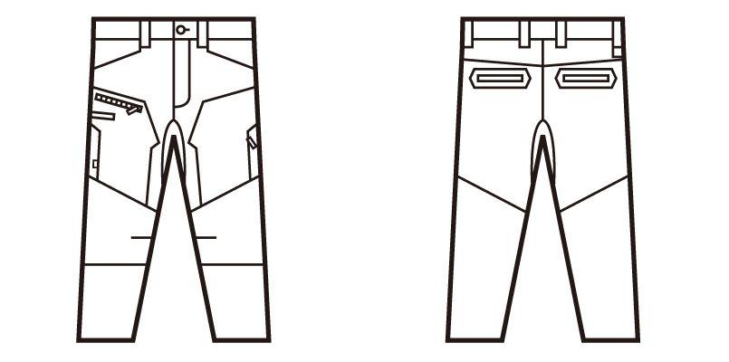 自重堂 71802 Z-DRAGON ストレッチノータックカーゴパンツ フルハーネス対応 ハンガーイラスト・線画