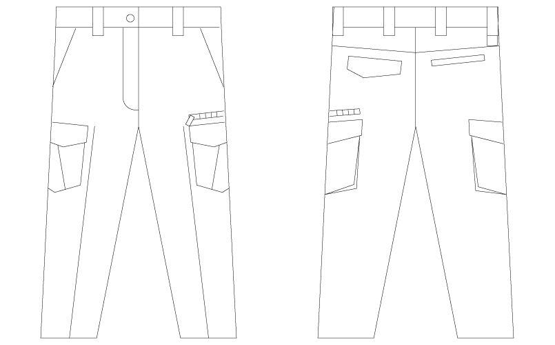 自重堂 75016 [春夏用]Z-DRAGON レディースノータックカーゴパンツ ハンガーイラスト・線画