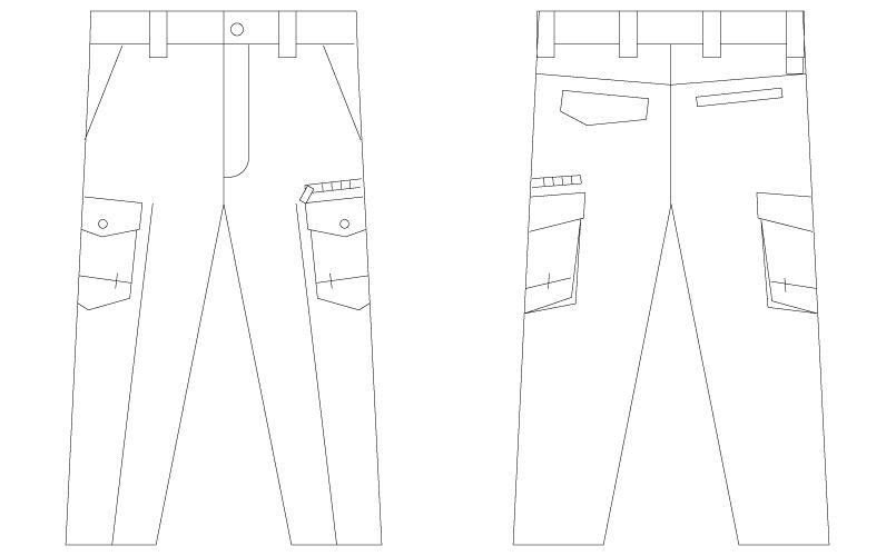自重堂 75202 [春夏用]Z-DRAGON ノータックカーゴパンツ(男性用) ハンガーイラスト・線画