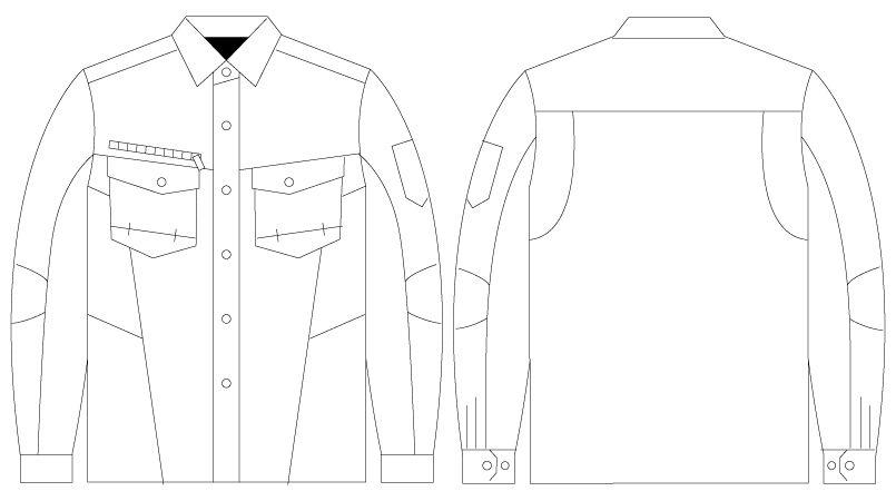 自重堂 75204 [春夏用]Z-DRAGON 綿100%長袖シャツ(男女兼用) ハンガーイラスト・線画