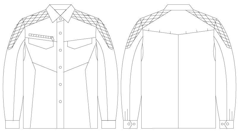 自重堂 75404 [春夏用]Z-DRAGON サマーツイル長袖シャツ ハンガーイラスト・線画
