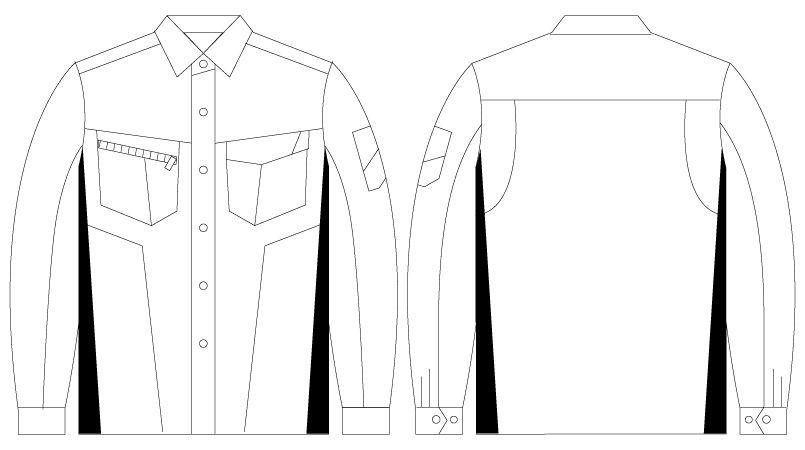 自重堂 75504 [春夏用]Z-DRAGON 製品制電長袖シャツ ハンガーイラスト・線画
