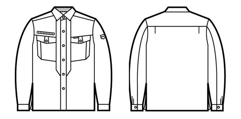 80204 自重堂 綿100%ストレッチ長袖シャツ ハンガーイラスト・線画