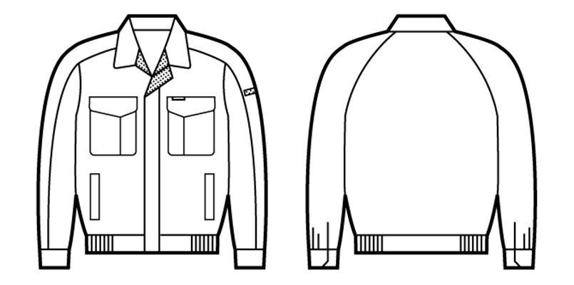 自重堂 80300 エコ低発塵製品制電ブルゾン(JIS T8118適合) ハンガーイラスト・線画