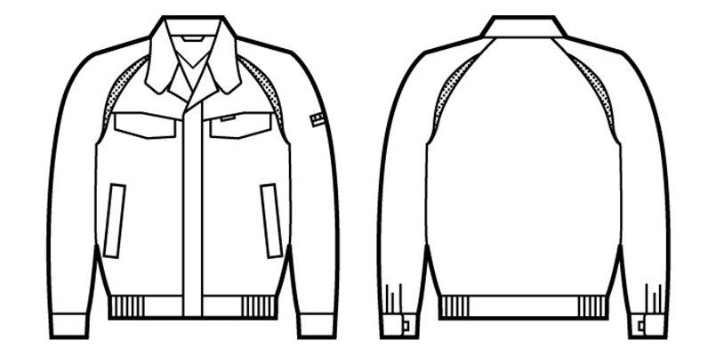 自重堂 81100 エコ製品制電ブルゾン(JIS T8118適合) ハンガーイラスト・線画