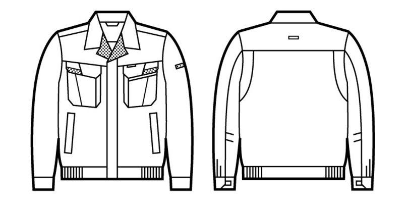 自重堂 81600 制電ストレッチ長袖ブルゾン(JIS T8118適合) ハンガーイラスト・線画