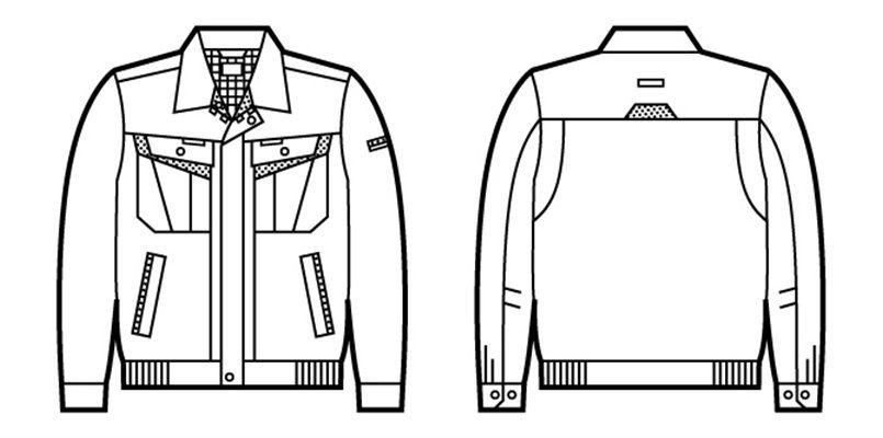 自重堂 82000 製品制電ストレッチエコブルゾン(JIS T8118適合) ハンガーイラスト・線画