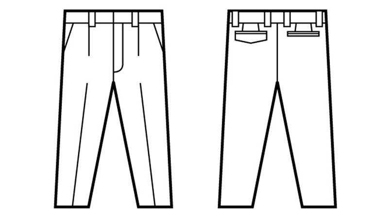 自重堂  82401 ブレバノプラスツイル難燃ワンタックパンツ ハンガーイラスト・線画