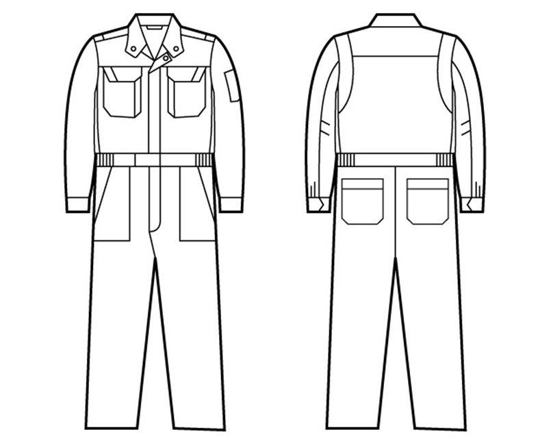自重堂 82420 ブレバノプラスツイル難燃ツナギ ハンガーイラスト・線画