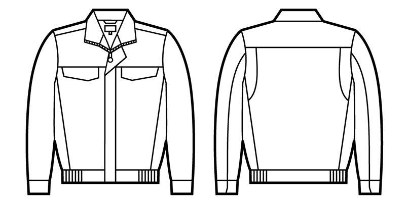自重堂 82500 ポケットレス製品制電ブルゾン(JIS T8118適合) ハンガーイラスト・線画