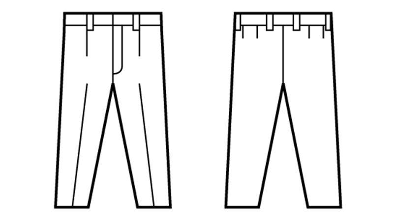 自重堂 82501 ポケットレス製品制電ワンタックパンツ(JIS T8118適合) ハンガーイラスト・線画
