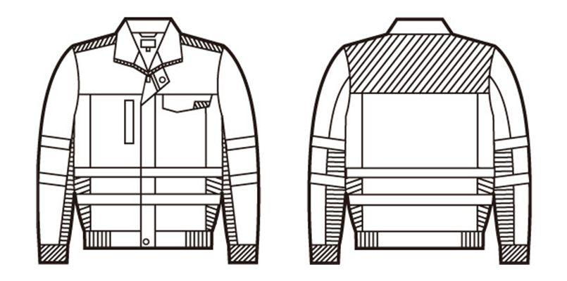 自重堂 82700 高視認性安全服 ブルゾン(年間定番生地使用) ハンガーイラスト・線画