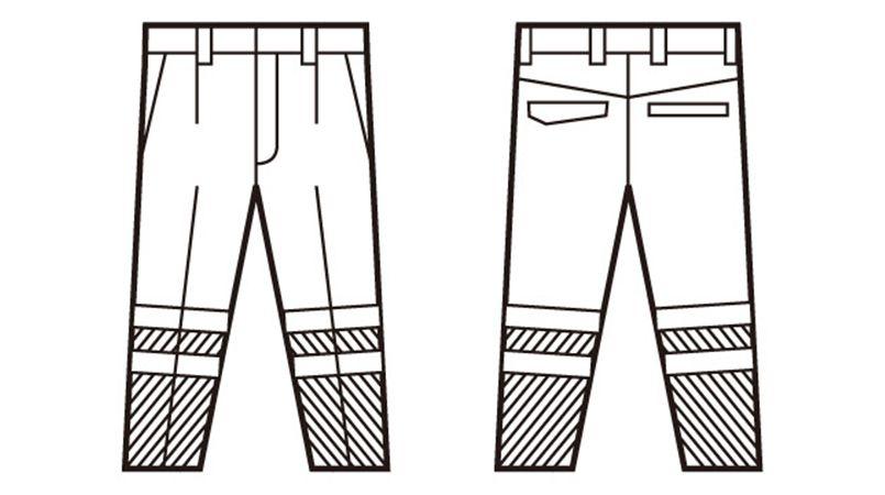 自重堂 82701 高視認性安全服 ワンタックパンツ(年間定番生地使用) ハンガーイラスト・線画