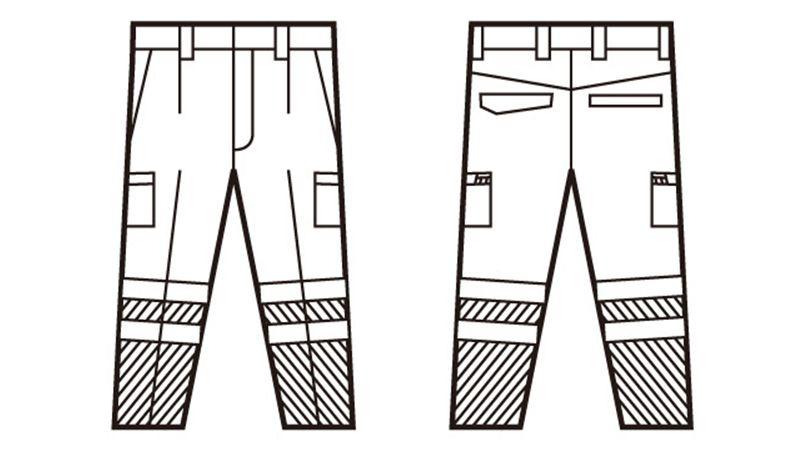 自重堂 82702 高視認性安全服 ワンタックカーゴパンツ(年間定番生地使用) ハンガーイラスト・線画