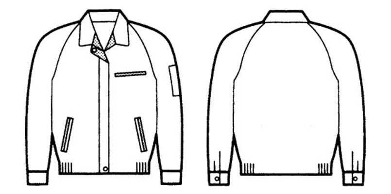 自重堂 834 低発塵製品制電レディースブルゾン(JIS T8118適合) ハンガーイラスト・線画