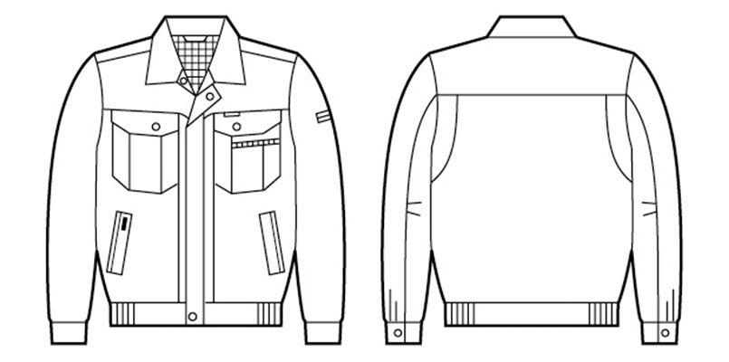 自重堂 84100 [春夏用]エコ 3バリュー 長袖ブルゾン(JIS T8118適合) ハンガーイラスト・線画