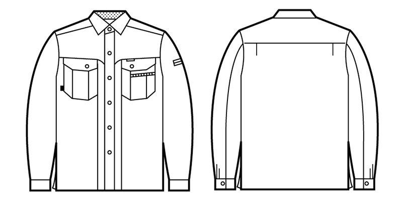 自重堂 84104 エコ 3バリュー 長袖シャツ(JIS T8118適合) ハンガーイラスト・線画