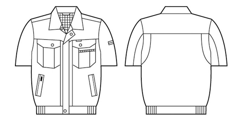 自重堂 84110 [春夏用]エコ 3バリュー 半袖ブルゾン(JIS T8118適合) ハンガーイラスト・線画