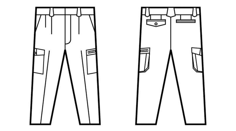 自重堂 84202 [春夏用]ストレッチ ツータックカーゴパンツ ハンガーイラスト・線画