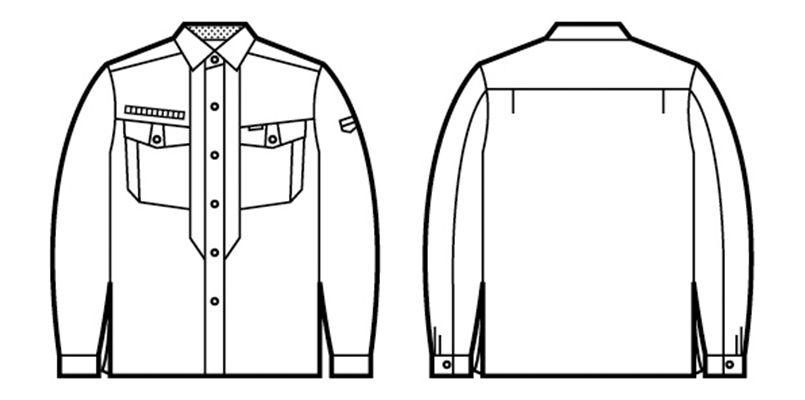 自重堂 84204 [春夏用]ストレッチ 長袖シャツ(綿100%) ハンガーイラスト・線画