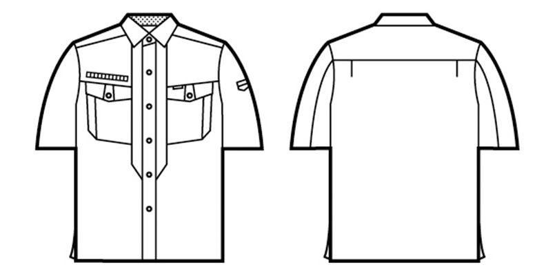 自重堂 84214 [春夏用]ストレッチ 半袖シャツ(綿100%) ハンガーイラスト・線画