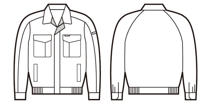 自重堂 84300 [春夏用]エコ低発塵製品制電長袖ブルゾン(JIS T8118適合) ハンガーイラスト・線画