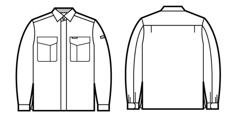 自重堂 84304 エコ低発塵製品制電長袖シャツ(JIS T8118適合) ハンガーイラスト・線画