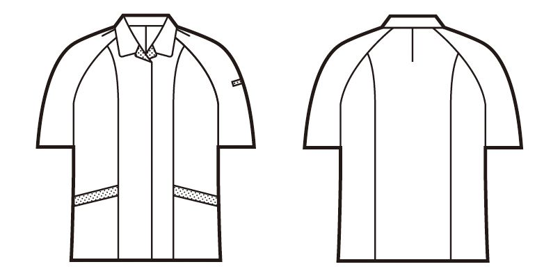 自重堂 84335 [春夏用]エコ低発塵製品制電半袖スモック(JIS T8118適合) ハンガーイラスト・線画