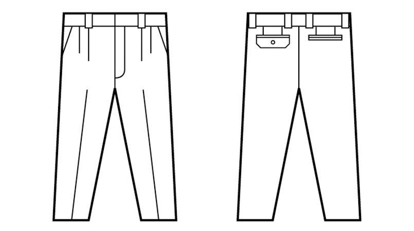 自重堂 84501 [春夏用]ツータックパンツ ハンガーイラスト・線画