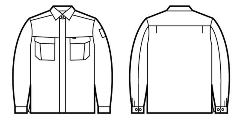 自重堂 84604 綿100%長袖シャツ ハンガーイラスト・線画