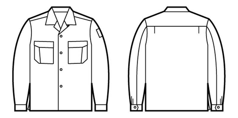 自重堂 84624 綿100%長袖オープンシャツ ハンガーイラスト・線画