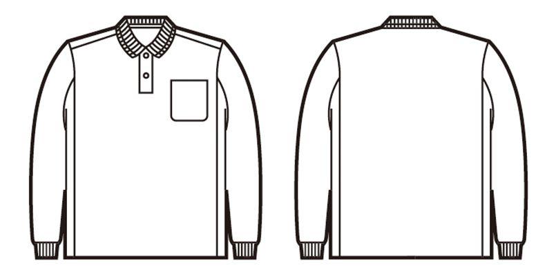 自重堂 84974 製品制電吸汗速乾長袖ポロシャツ(胸ポケット有り)(JIS T8118適合) ハンガーイラスト・線画