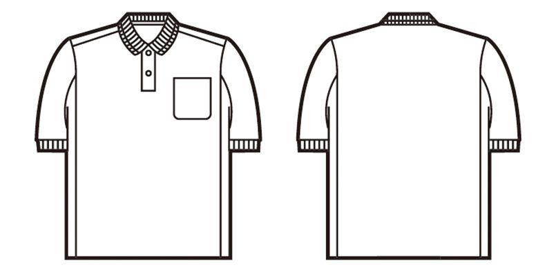 自重堂 84984 [春夏用]製品制電吸汗速乾半袖ポロシャツ(胸ポケット有り)(JIS T8118適合) ハンガーイラスト・線画