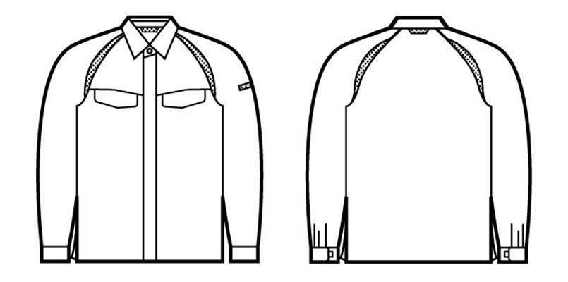 自重堂 85104 エコ製品制電長袖シャツ(JIS T8118適合) ハンガーイラスト・線画