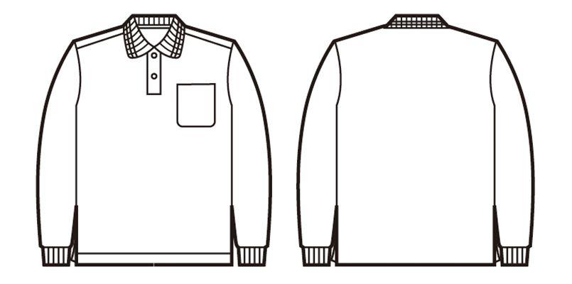 自重堂 85244 エコ製品制電長袖ポロシャツ(胸ポケット付き)(JIS T8118適合) ハンガーイラスト・線画