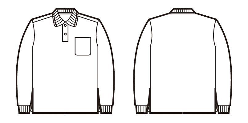 自重堂 85264 長袖ドライポロシャツ(胸ポケット有り) ハンガーイラスト・線画