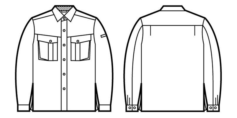 自重堂 85404 エコ 3バリュー 長袖シャツ(JIS T8118適合) ハンガーイラスト・線画