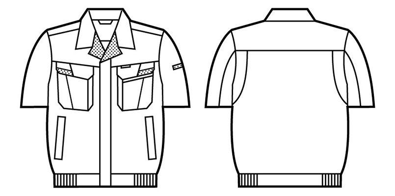 自重堂 85610 [春夏用]製品制電ストレッチ半袖ブルゾン(JIS T8118適合) ハンガーイラスト・線画