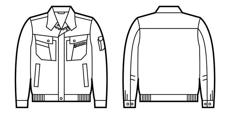 自重堂 85700 [春夏用]エコ 5バリュー 長袖ブルゾン(JIS T8118適合) ハンガーイラスト・線画