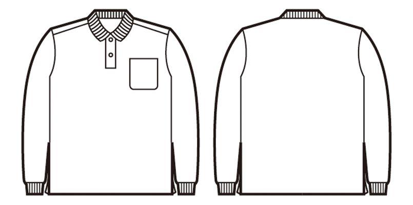 自重堂 85804 長袖ドライポロシャツ(男女兼用)(胸ポケット有り) ハンガーイラスト・線画