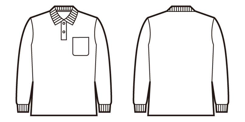 自重堂 85844 鹿の子長袖ポロシャツ(胸ポケット有り) ハンガーイラスト・線画